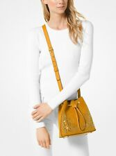 Michael Kors Cary Small Black Suede & Leather Bucket Bag Crossbody Gold
