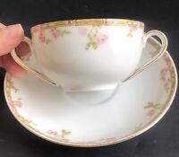 Vintage 2 Handle Cup and Saucer Set O & E.G. Royal Austria Pink Roses Gold Rim