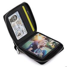 Men's Leather Zip Around Wallet ID Card Window Secure Zipper Bifold RDIF Block
