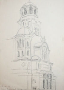 1973 Pencil drawing cathedral signed
