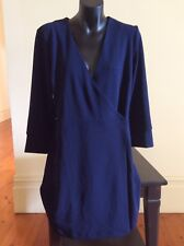 Brand New, Warehouse Navy Blue Crepe Wrap  Dress Size 14