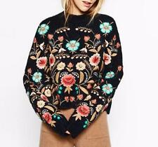 2018 Women Floral Embroidered Softly Wool Blend sweater Jumper Sweater Cardigans
