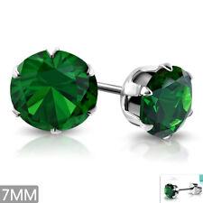 Edelstahl Ohrringe 7mm Ohrstecker Zirkonia Stainless steel earrings e-xry545