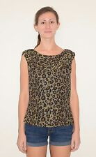 Beaded Leopard Print Silk Bead Top Blouse Shirt by Andretta Donatello Size Large