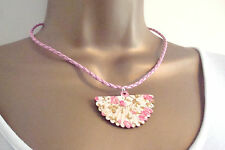 Wooden Cherry Blossom Fan Pendant on Pink Faux Leather Cord Necklace