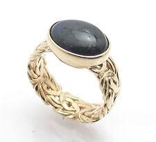 Sz 9 Technibond Labradorite Gemstone Byzantine Ring 14K Yellow Gold Clad Silver