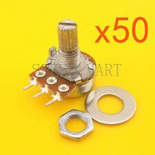 50pcs B50K Ohm Linear Taper Rotary Potentiometer Pot 15mm Shaft 3 Pins Wholesale