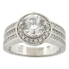 Ladies .925 Silver Simulated Diamond Chunky Solitaire w/ Halo Engagement Ring