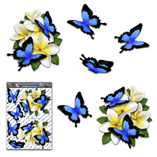 White Frangipani Plumeria Flower Butterfly Car Sticker St047wt3 Australia Made