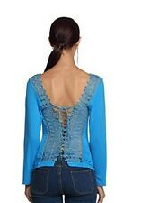 Women Luxury Sexy Long Sleeve Blouse Embroidered Corset Lace Up Mesh Top 10 - 12