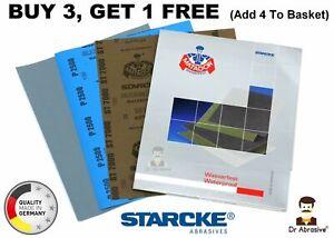 Wet and Dry Sandpaper Starcke Waterproof Sheets Assorted Grit 180-7000 German HQ