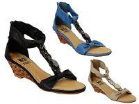 Ladies No Shoes Gleam Elegant Wedge Antique Jewel Look Black Taupe Blue Size 5-9