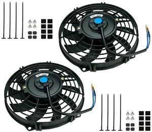 """2x Universal 16"""" 406mm Radiator Electric Cooling Fan Slimline Front / Rear Mount"""