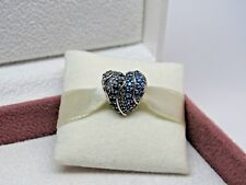 New w/Box Pandora Aqua Heart Multi Colored CZ & Crystals Charm 797015NABMX