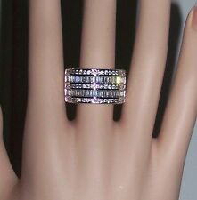 size 11 STATEMENT RING 18K WG-FILLED AAA CLEAR CZ 5 ROW BAND round & baguette