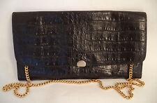 Impresión De Cocodrilo Negro Cuero Bolso sin asas o correa de hombro bolso de mano cadena