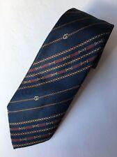 Gucci Men's Tie Double G Logo 100% Silk Navy Blue Made In Italy Vintage Necktie