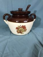 McCoy 342 Brown Drip Bean Pot Soup Pottery With Notched Lid and Ladle