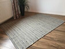 ❤️ZIG ZAG RUG PALE GREY RAG, NATURAL COTTON 90cm x 150cm SOFT INDIAN HERRINGBONE