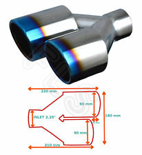 """BURNT TIP UNIVERSAL EXHAUST TAILPIPE RIGHT 2.25"""" INLET GW-ET095-B-R  VLV1"""