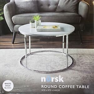 Norsk Round Coffee Table Modern Look, White High Gloss Surface With Metal Base