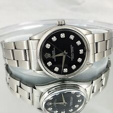 MEN'S Rolex Oyster Perpetual Automatic Watch Black Dial w/Diamond Rolex Watch