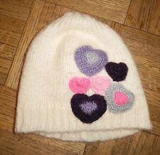 Ivory Purple Pink Heart Crochet Beanie Hat GIRLS  SIZE 4 to 16
