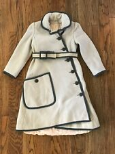 Vtg 40s Ladies XS OR Child XL Belted Long Military Peacoat Princess Trench Coat