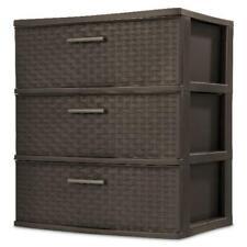 3 Drawer Wide Weave Tower Storage Cabinet Box Organizer Dresser Chest Espresso