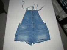 AMERICAN EAGLE WOMEN'S BLUE DENIM JEAN TIE BEHIND SHORTALLS SIZE M WAIST 32""