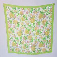 Damen  Sommer Tuch  Seidentuch  SEIDE  quadratisch hellgrün  Blumen WIE NEU