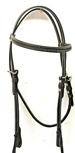 Tough 1 Black Leather Brow Band Headstall w/Basket Stamp & Throat Latch 42-1414