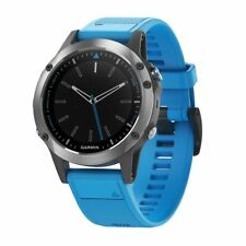 Garmin Quatix 5 Marine GPS Smartwatch Stainless Steel w/Blue Band  010-01688-40