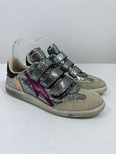 Isabel Marant Beth Metallic Lightning Bolt Sneakers in Grey Size 39 $460