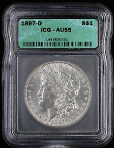 1897 O $1 Morgan Silver Dollar ICG AU 55