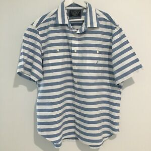 Nautica Short Sleeve Shirt Size XXL Blue & White Stripe