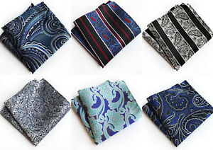 Silver Black Blue Red Paisley Patterned Pocket Square Handerchief