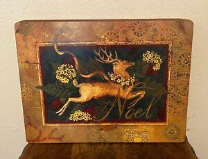 Set 4 Pimpernel Premier Collection Christmas Reindeer Placemats Cork Back -12x16