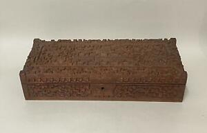 Antique Hand-Carved Indian Wooden Box Depicting a Palace
