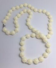 Cream Hint Of Pink And White Pearl Acrylic Beaded Necklace  32 Inches Long F007