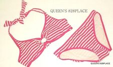 New Juicy Couture women's S Small Pink White halter Striped Bikini swimsuit $132