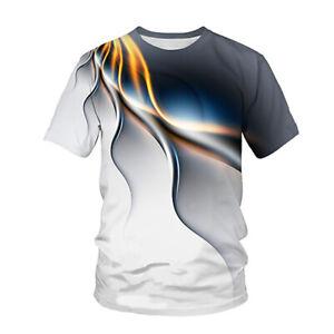 Sommer Herren Freizeit Oberteile 3D Druck Rundhals Kurzarm T-Shirt Top Shirts