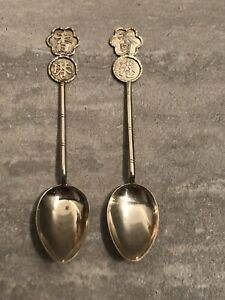 Vintage Chinese Silver Coffee Spoon 1900-1930 Hong Kong