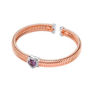 Rose Gold Plated Sterling Silver Bangle Amethyst Heart Cubic Zirconia J JAZ