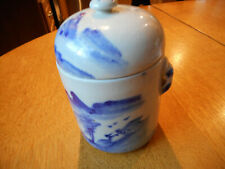 Incredibly fabulous ANTIQUE JAPANESE TEA CADDY hand-painted GORGEOUS 6 in. HIGH