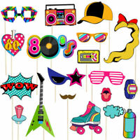 21Pcs 80s Party Cosplay Retro Photo Booth Props Photography Selfie Sticks Decor