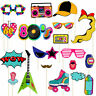 21Pcs 80s Party Cosplay Retro Photo Booth Props Photography Selfie Funny Decor