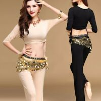 Belly Dance Soft Costume Top Pants Trousers Suits Set Dancing Practice Outfits