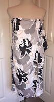 BNWT Reiss Selma Bustier Grey Print Dress. UK Size 10. RRP £139