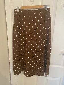 Seed Heritage A-Line Skirt Elastic Waist Cream/Brown Polka Dots Size 10 BNWOT